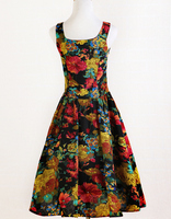 Urban olhar indie retro da cópia da flor vestidos rose pattern gola quadrada vestido fifties vetements femme robe kleider 1950 s 60 s club