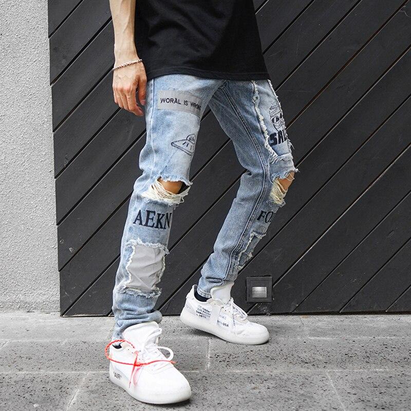 Réfléchissant hommes Skinny déchiré Jeans 2018 Vintage Biker survêtement en détresse trou Baggy Denim Slim Fit pantalons décontractés-in Jeans from Vêtements homme on AliExpress - 11.11_Double 11_Singles' Day 1