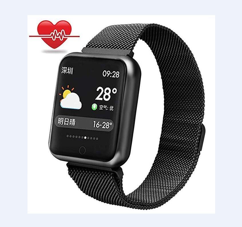 P68 Smart Watch Men Women IP68 Blood Pressure Oxygen Heart Rate Monitor Watch Steps Calories Mileage