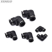Black L Shaped Elbow 4mm to 16mm OD Hose Tube One Touch Push in Air Pneumatic Fitting Quick  Connector Fittings Plastic Gas 20pcs 8mm to 6mm y push in one touch fittings connector