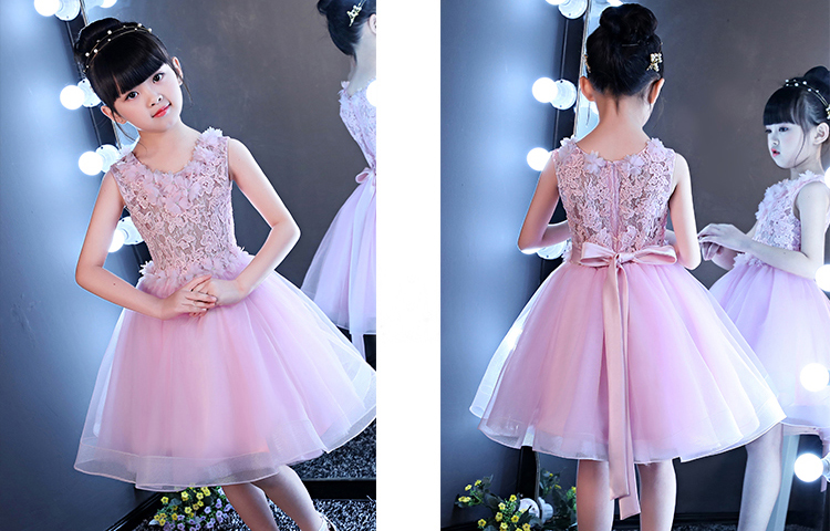 Pretty Pink Lacetulle Knee Len Flower Girl Dresses Princess Dresses
