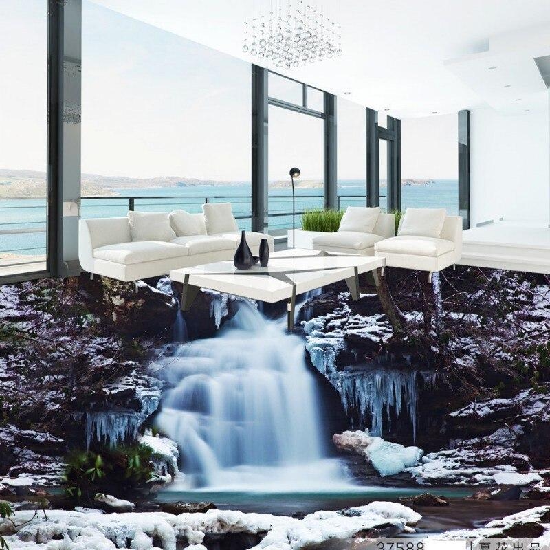 Free Shipping Shocking waterfalls 3D floor painting living room lobby office self-adhesive floor wallpaper mural