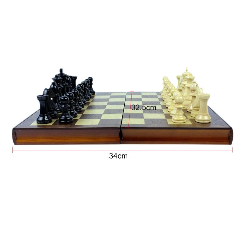 High Grade Coffee Lattice Books Shape Folding Wooden Table Box Chess Set King 75mm Wood Solid Chessman Board Games Children Gift 2