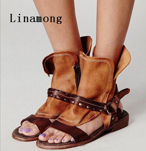 New Style Gladiator Low Heel Women Sandals Summer new color fight sexy fashion rough style flat sandals Rear Zipper Sandals image
