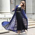 2016 Summer Style Women's Thin Chiffon X Long Trench Coats Open Stitch Stereoscopic Flower Decoration Flare Sleeves Coats