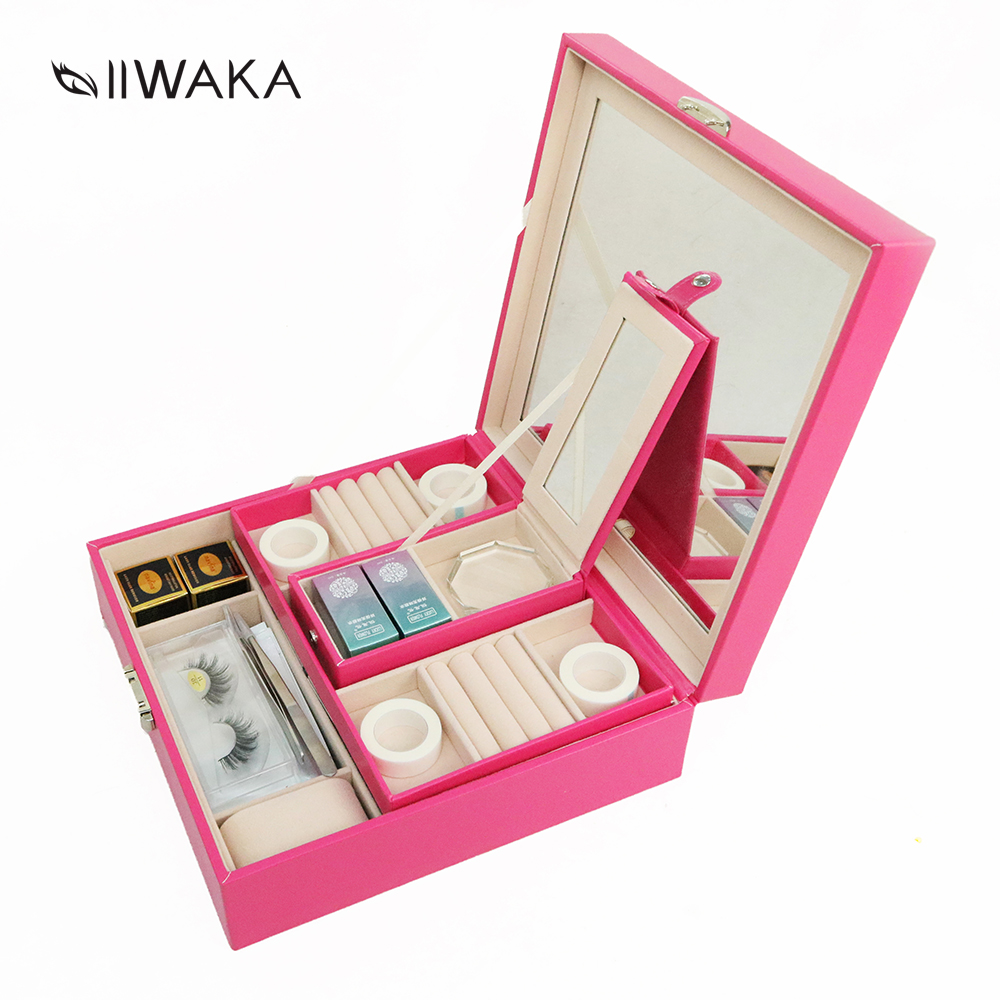 IIWAKA 3 colors luxury toolkit for eyelashes extensions eyelashes with makeup tools: glue,eye pads, tapes,brushes,tweezers.