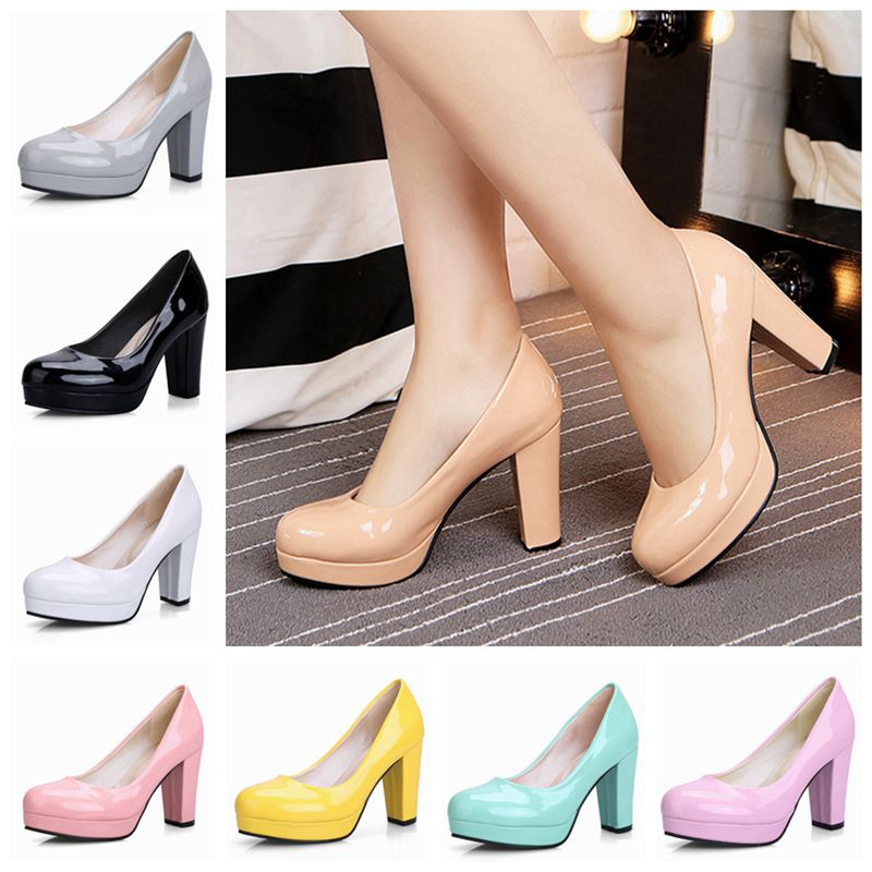 ASILETO big size 43 women pumps shoes platform high heels shallow slip on round toe office party wedding footwear chaussures
