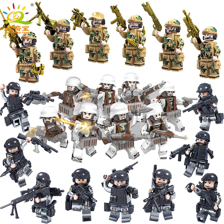 Military Swat Team City Police Armed Assault Army soldiers With Weapons Guns Compatible Legoed Figures WW2 Building Blocks Toys 6pcs swat military army riot police officer special weapons minifigures building blocks bricks kid baby boy toys