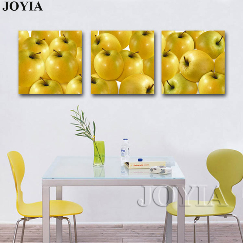 3 Piece Yellow Apple Wall Canvas Painting Dinning Room Decor Art ...