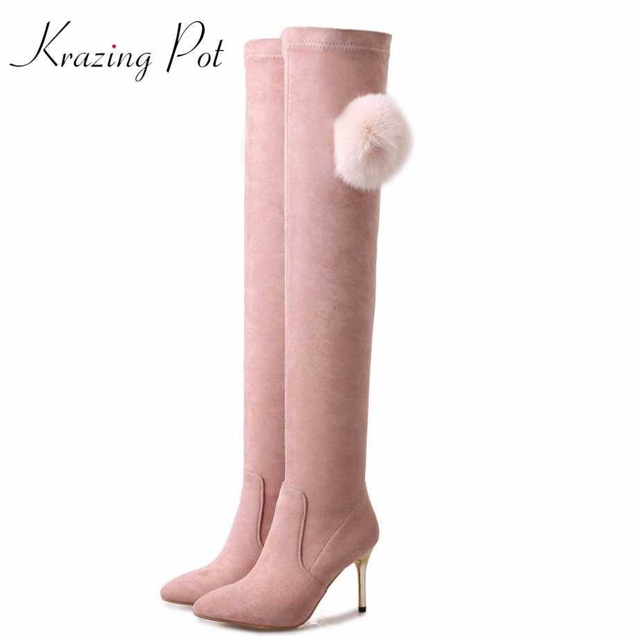 Krazing Pot flanel vizon saç kış ayakkabı sıcak tutmak uyluk yüksek çizmeler yüksek topuklu sivri burun kadınlar sevimli aşırı diz çizmeler L66