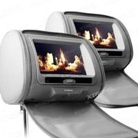 XTRONS Gray 2x7 Digital Screen zipper Car Headrest DVD Player USB FM Game Disc Remote Control