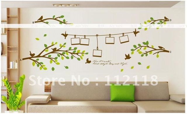 Free shipping:60*90CM Tree Photo Frames Birds Wall Stickers Home Decor For Kid Room Art, Removable Vinyl Decal