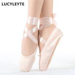 حجم 28-43 LUCYLEYTE الطفل و الكبار الباليه بوانت أحذية الرقص السيدات المهنية الباليه الرقص أحذية مع أشرطة أحذية امرأة