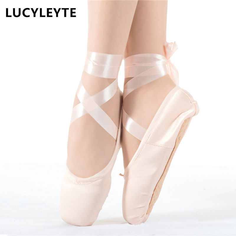 Size 28-43 LUCYLEYTE Child and  ballet pointe dance shoes ladies professional ballet dance shoes with ribbons shoes woman