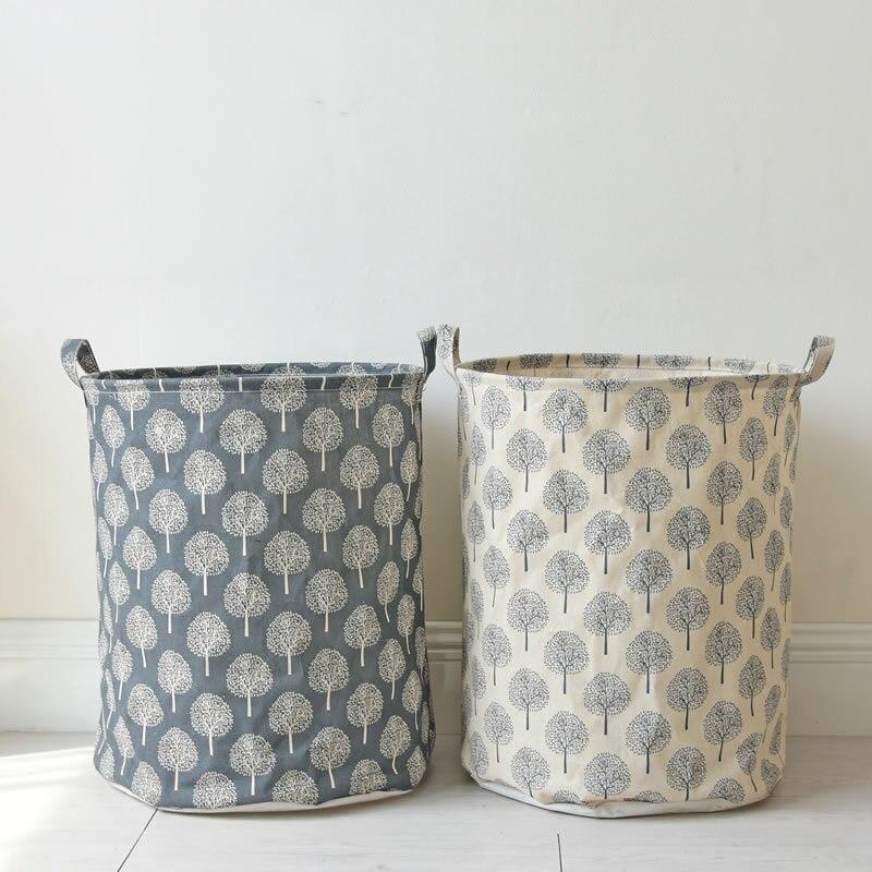 HAKOONA Laundry Basket Simple Trees Pattern Water Proofed Folding Home Storage Basket 34*45ccm