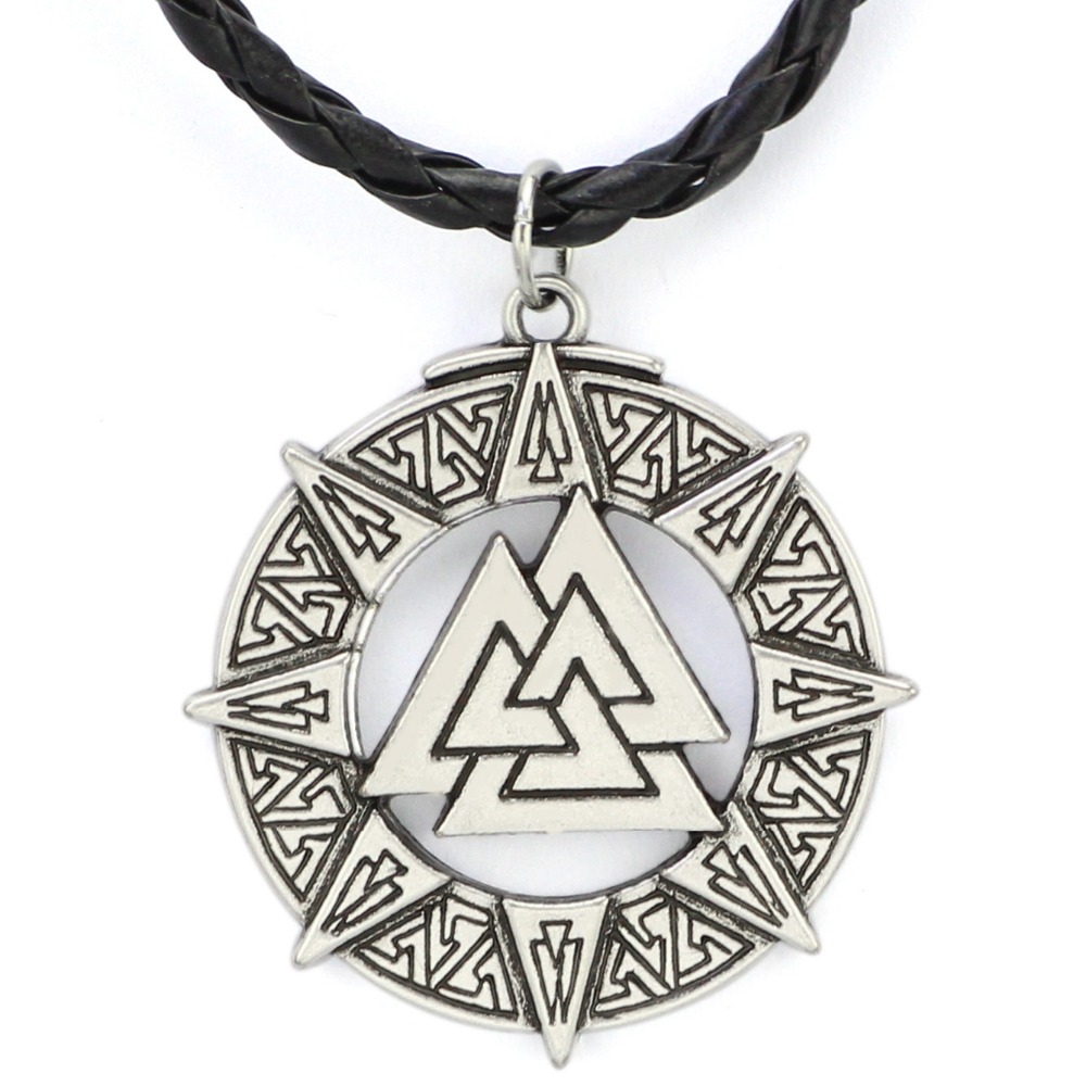 Valknut Odin's Symbol of Norse Viking Warriors Pewter Pendant Necklace