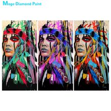 American Native Woman Feather Diamond Painting portrait Round Full Drill 5D Nouveaute DIY Mosaic Embroidery Cross Stitch gifts