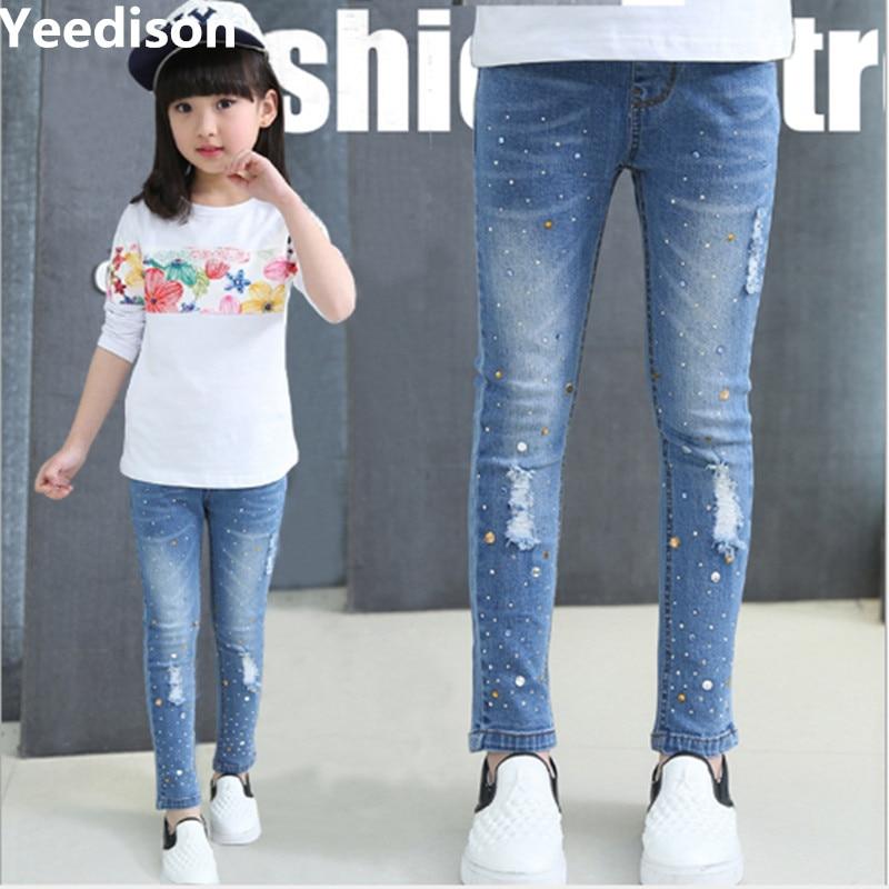 01dbdb911b4 Girls Jeans 2018 Plus Size Baby Girls Pants Slim Skinny Kids Leggings  Cotton Casual Children Girls Clothes 6 8 10 12 14 Year ...