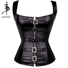 Gothic Bustier Back-Corset Buckle-Up Body-Shapewear G-String Faux-Leather Vest Steel