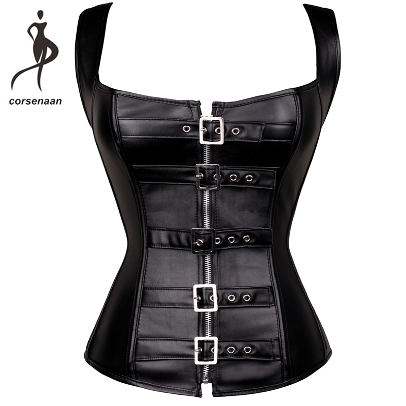 Steel Boned Women's Body Shapewear Vest Faux Leather Buckle Up Front Back   Corset   Gothic   Bustier   With G String 905#