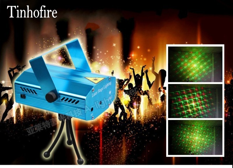 Tinhofire Mini LED Stage Light Lamp R&G Laser Projector Stage Lighting whirlwind pattern Sound Control DJ Disco Party Club KTV rg mini 3 lens 24 patterns led laser projector stage lighting effect 3w blue for dj disco party club laser
