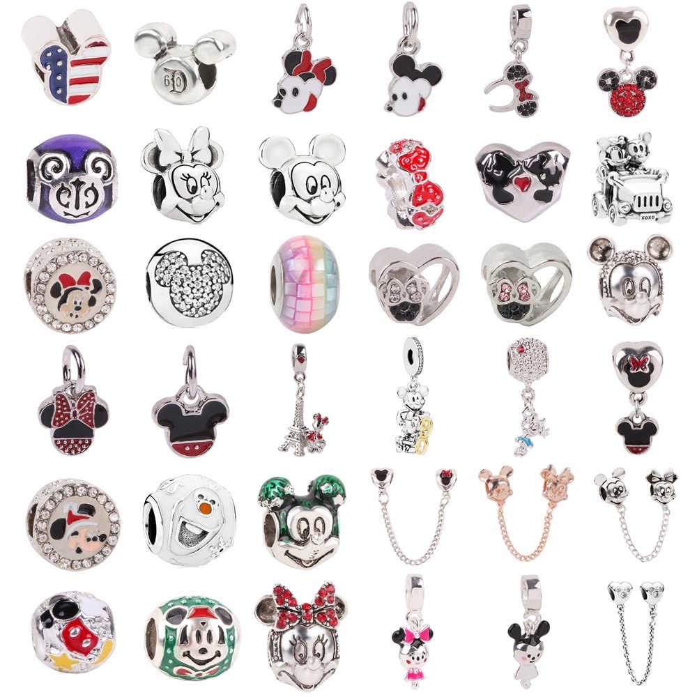 Silber 925 Mickey Minnie Sicherheit kette Clip Schneemann DIY Bead Fit Original Pandora Charms Silber Armband Schmuckstück Schmuck Frauen
