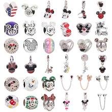 Silver 925 Mickey Minnie Safety chain Clip Snowman DIY Bead Fit Original Pandora Charms Silver Bracelet Trinket Jewelry Women недорого