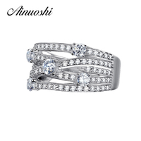 AINUOSHI Special Design Women Ring 925 Sterling Silver Bague Zircon Micro Pave Big Multi Lines Promise Women Anniversary Bijoux