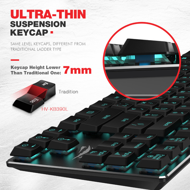 HAVIT Mechanical Keyboard 87 Keys Ultra Low Axis Extra-Thin Mini Gaming Keyboard Blue Switche for PC/Laptop HV-KB390L(Russian) 3