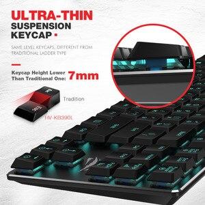 Image 3 - Havit Mechanische Toetsenbord 87 Toetsen Ultra Lage As Extra Dunne Mini Gaming Toetsenbord Blauw Geschakelde Voor Pc/Laptop HV KB390L (Russisch)