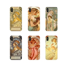 Arte de ALPHONSE MUCHA suave transparente funda para iPhone X de Apple XR XS MAX 4 4S 5 5S 5C SE 6 6S 7 7 Plus ipod touch 5 6