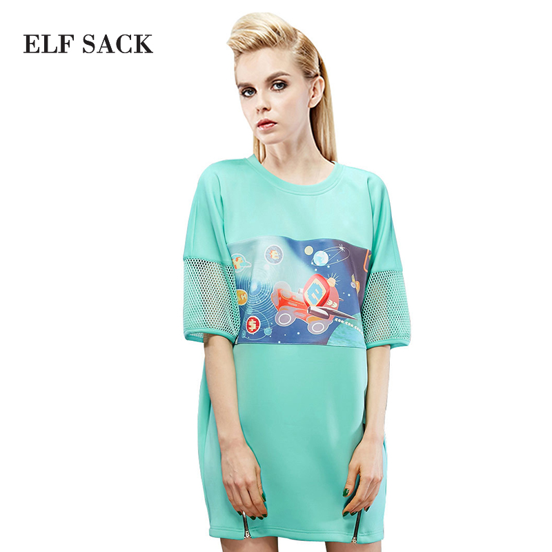 ELF SACK fashion brand new arrival 2017 spring women casual patchwork print dress street style O-neck zipper free shipping