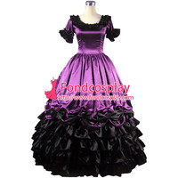 Free Shipping Gothic Lolita Punk Medieval Gown Grape Ball Long Evening Dress Jacket Tailor-made