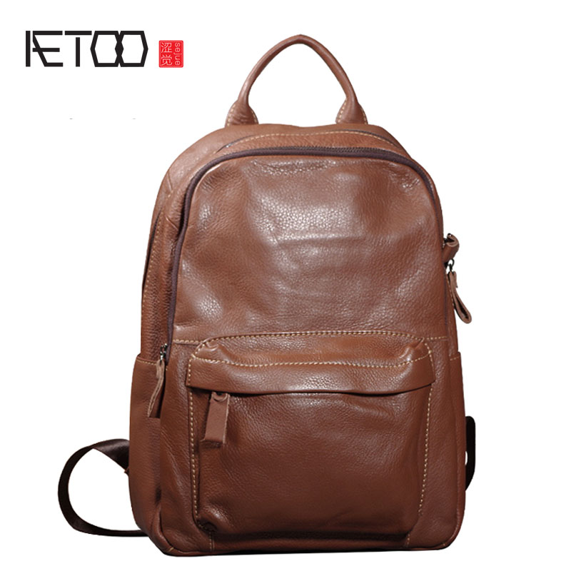 AETOO Retro first layer leather shoulder bag men and women fashion trend leisure travel bag men's backpack youth bag computer aetoo spring and summer new leather handmade handmade first layer of planted tanned leather retro bag backpack bag