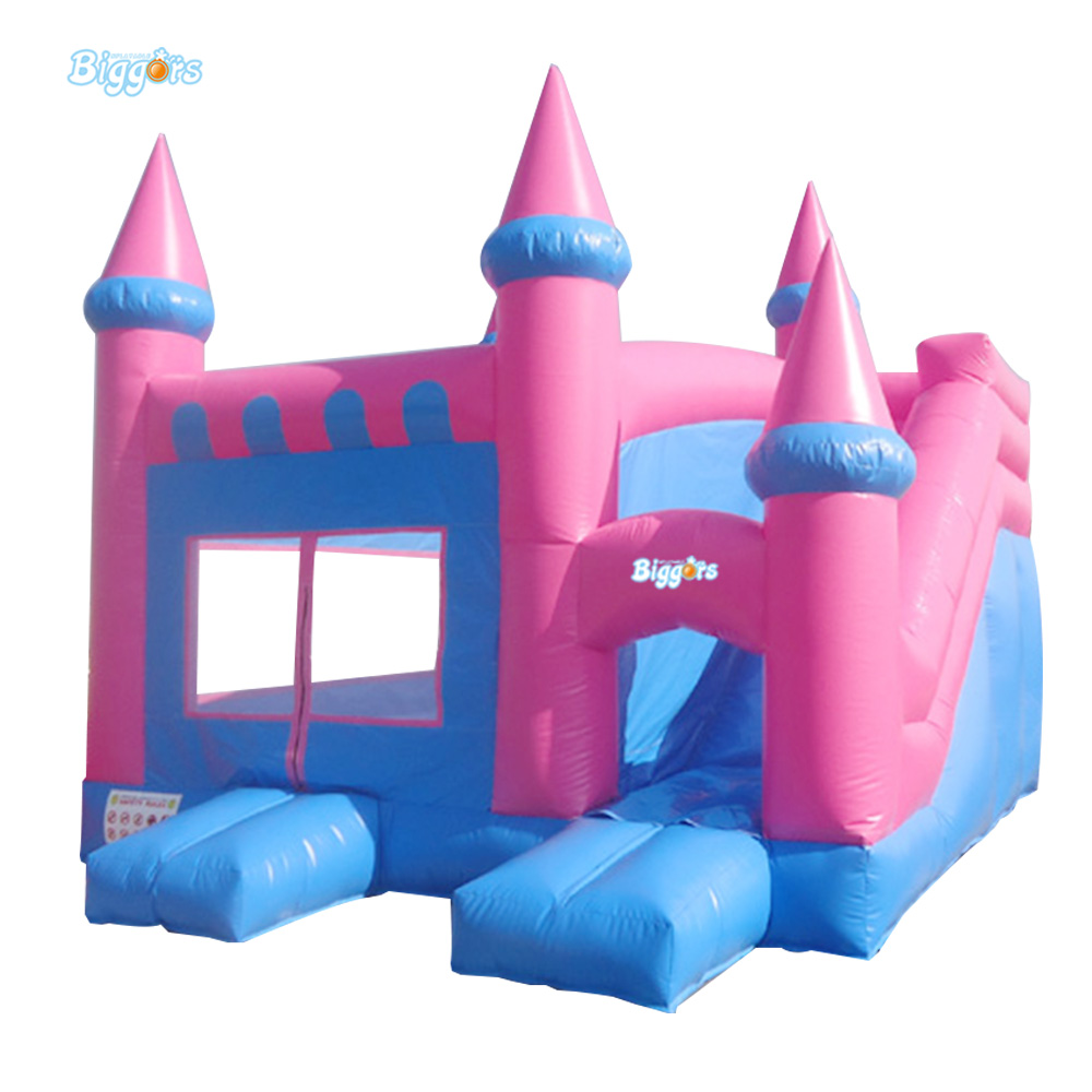 Pink And Blue Inflatable Bouncy Castle With Slide For Sale inflatable inflatable wet bouncy slide with water pool for kids