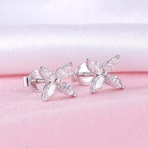 Image 3 - DovEggs 14 18K ホワイトゴールドマーキスカット 2*4 ミリメートル F 色モアッサナイトダイヤモンドスタッドイヤリング女性の花形状ねじバックイヤリング