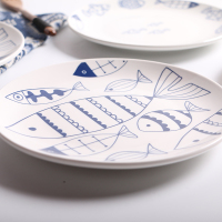 Jingdezhen Creative Cartoon Fish Ceramic Plate Dish 8 Inches Bone China Porcelain Round Flat Dinning Lunch