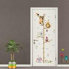 Самоклеющиеся наклейки с рисунком обезьяны для девочек-принцесс, детские наклейки для измерения роста, детские наклейки с изображением машины, мультипликационные наклейки для детской комнаты