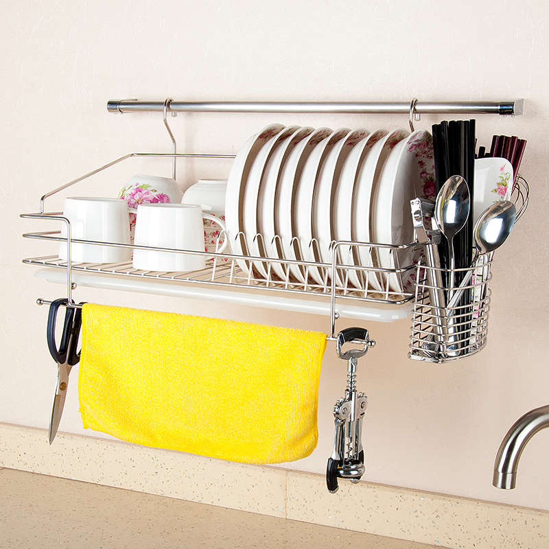 dapai house top 304 stainless steel double hutch drainboard dish rack hanging wall kitchen water. Black Bedroom Furniture Sets. Home Design Ideas