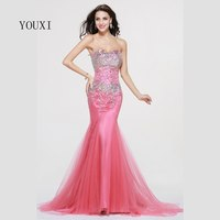 2017 Sparkle Crystals Pink African Prom Dresses Mermaid Black Girls Luxury Gold Party Dress Long Evening