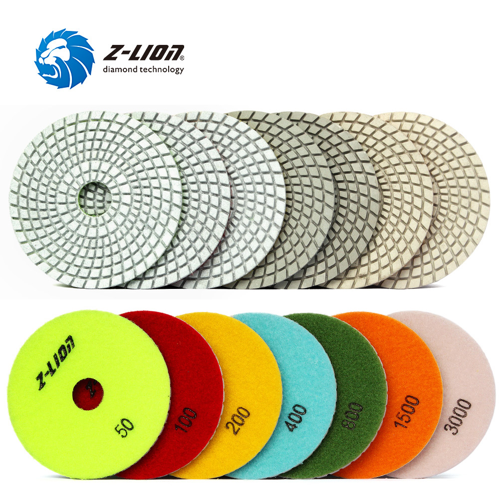 Z LION 4 Diamond Wet Polishing Pad for Quartz Countertop 7pcs Artificial Stone Tabletop Polishing Wheels