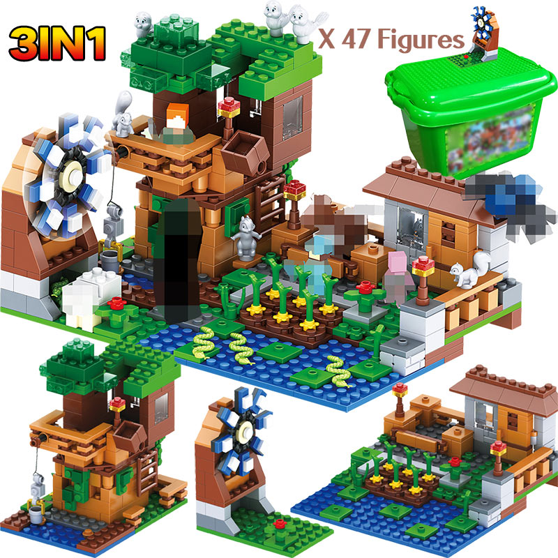 3 IN 1 My World Series Luxury Tree House Pet Village Farm Compatible legoINGLY Minecrafted Windmill Building Blocks Brick Toys3 IN 1 My World Series Luxury Tree House Pet Village Farm Compatible legoINGLY Minecrafted Windmill Building Blocks Brick Toys