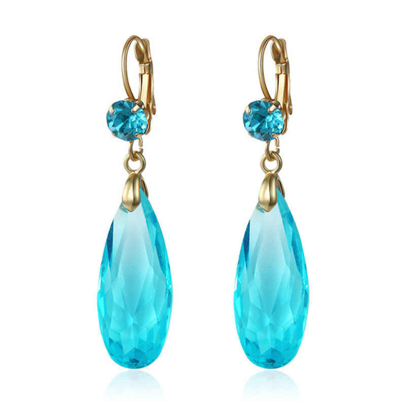 Dangling Earring Fashion Jewelry Colorful Crystal Stone Water Drop Earrings for women Brincos 2018