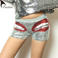TASTIEN 2017 New Fashion Women  Slim  Super Shorts Big Mouth Sequins Shorts  Skinny Hot High Waisted Shorts Clubwear 4 Colors