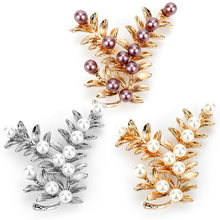Dongsheng Mode Sieraden Crystal Leaf Broches Pins Vintage Style Imitatie Parel Grote Vrouwen Broche Bruiloft Accessoires-40(China)