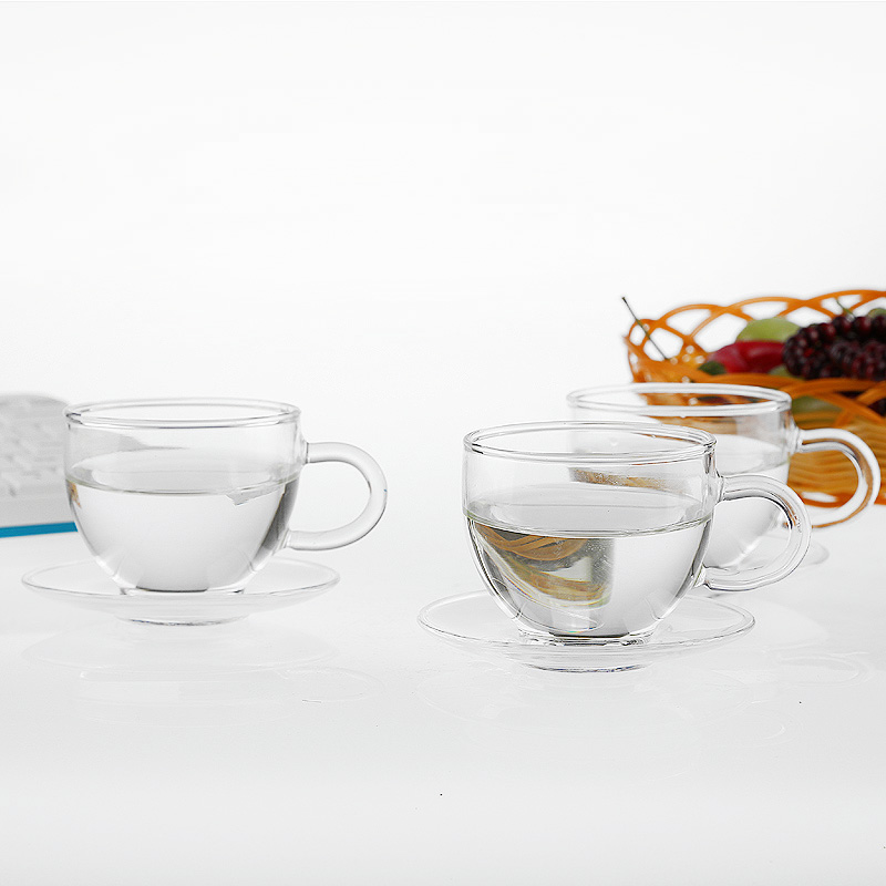 Free shipping teacups and saucer sets, heat-resistant clear coffee tea cups
