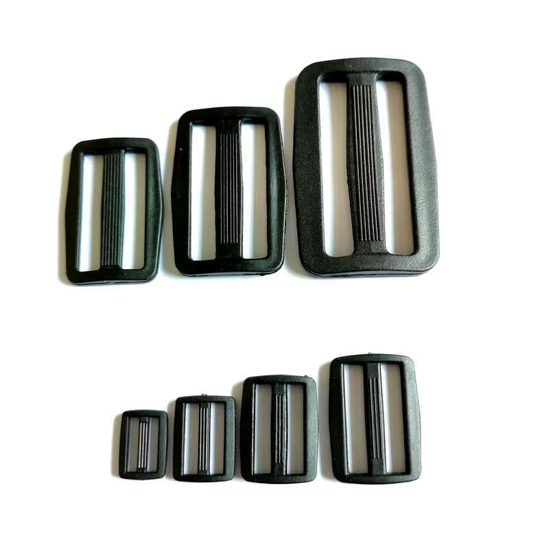 20Pcs Plastic Black 12mm <font><b>15mm</b></font> 20mm 25mm Slider Adjustable <font><b>Buckle</b></font> For Bags Webbing Harness Backpack Strap image