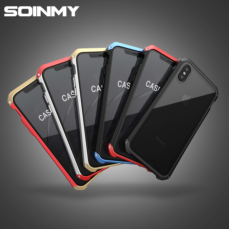 Soinmy <font><b>Shockproof</b></font> Metal <font><b>Case</b></font> <font><b>for</b></font> <font><b>iPhone</b></font> XR <font><b>Case</b></font> <font><b>Armor</b></font> Tempered Glass Back Cover <font><b>For</b></font> <font><b>iPhone</b></font> 6 7 8 Plus X XS XR XS Max <font><b>Case</b></font> Luxury image