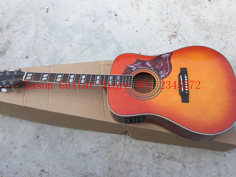 2019 New + Factory + vintage Chibson hummingbird acoustic guitar cherry red hummingbird electric acoustic guitar Free Shipping 2016 new factory sunburst finish chibson j45 acoustic guitar classical double rhombic inlays rosewood body and sides