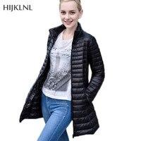 HIJKLNL Donsjas Puffer Jacke 2017 Neue Plus Größe Frauen Ultraleichte Daunenjacke Weibliche Parkas Einfache Unten Ente Mantel LH1085